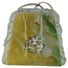 1910's Dresden Silk Candy Container Ornament