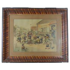 Early 20th Century Louis Wain Cats at Play Print in Old Frame