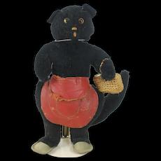 1950's-60's Stuffed Halloween Black Cat with Basket
