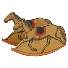 1920's-30's Wooden Toy Horse Rocking Chair