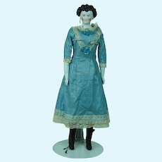 Early 1840's-50's China Doll in Blue White Dress