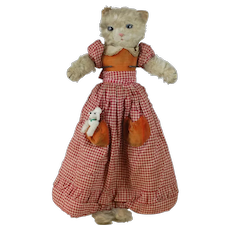 1930's Merry Thought Large Cat Pajama Bag with Miniature Dog