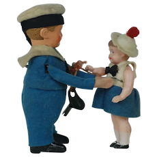1920's Schuco Wind-Up Sailor and Girl Toy