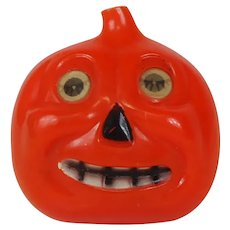 1940's Halloween Hard Plastic Pin Jack-o-Lantern
