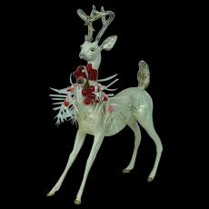 1960's Plaster White Christmas Reindeer