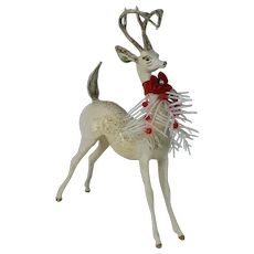 1960's Plaster White Christmas Reindeer with Crazing