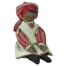 Early 20th Century Babyland Rag Doll in Red/White Outfit