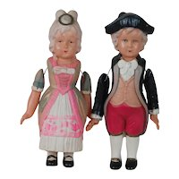 1920's-30's Japanese Celluloid George and Martha Washington Figures