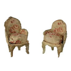 1920's-30's Pair Hand Made Doll House Chairs by Barbara Fowler