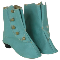 1910's-20's Turquoise Oil-Cloth Fashion Booties