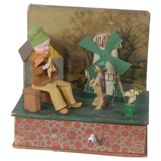 1900's Automation Music Box Toy with Heubach Boy and Dog