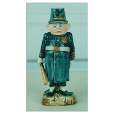 1890's Majolica Palmer Cox's Brownie Cop Candle Holder
