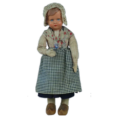 1920's German Celluloid and Cloth Doll w/ Wooden Clogs