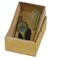 Doll Wooden Accessory Box with Brush, Comb, and Mirror
