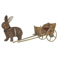 Early 1900's Rabbit and Cart Candy Container