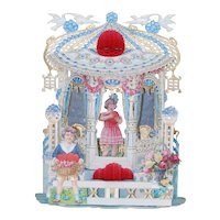 1920's Large Blue Pop-Up Valentine Card