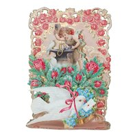 1920's Small Pop-Up Valentines Day Card of Cupid and Dove