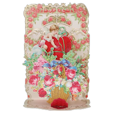 1920's Pop-up Valentines Day Card of Cupid and a Basket of Flowers