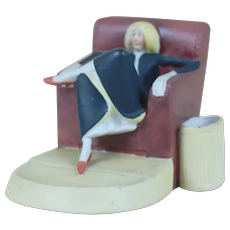 1920's Schafer Vater Woman in Chair Match Striker Shallow Ashtray