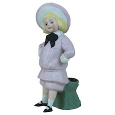 "Early 1900's 6"" Buster Brown Bisque Figure in Pink"
