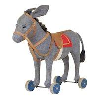 Early 1910-15 Steiff Felt Donkey Pull Toy