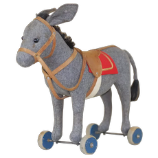 Early 1910-15 Steiff Felt Donkey Pull Toy