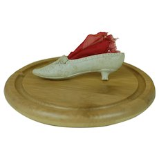 Lovely detailed embossed Tan Dresden Shoe Christmas Ornament with Red Silk Candy Bag