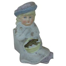 Victorian German Snow Baby lady figurine Pink SNOW container