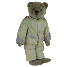 Rare Early 1900s Dressed Strunz Original Teddy G outfit Shoe button eye Teddy Bear