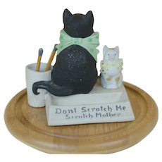 Scheaffer and Vater match holder and scratcher Big Black Cat and small Kitty Porcelain