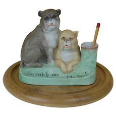 Scheaffer and Vater Porcelain Bisque match holder and scratcher 2 Big Bull Mastiff or bulldogs