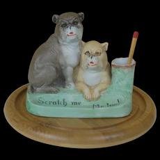 Scheaffer and Vater Porcelain Bisque match holder and scratcher 2 Big Bull Mastiff or bulldogs