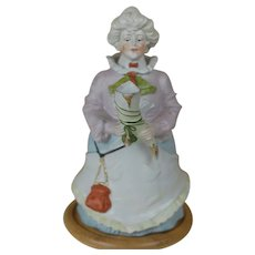 Antique German Austrian Bavarian Figural Woman Coffee, Chocolate Pot, Gibson Girl Hairdo