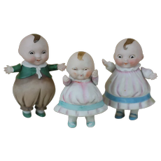 3 All Bisque German Happifats Boy and Girl and Happifats Baby , Dolls