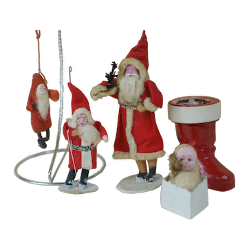 5 Japanese Santa Claus Christmas Tree ornaments includes boot candy container
