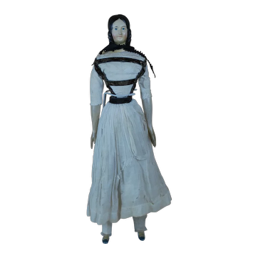 Amazing 20 inch 1830s exposed ear braided Bun Paper mache Milliners Model Doll