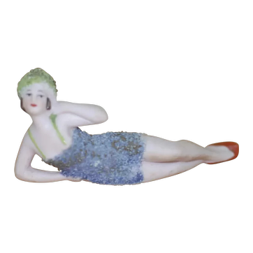 Lovely German Bathing Beauty With Pebbled blue Swim Suit and Green Cap
