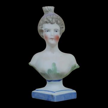German Porcelain Bisque Woman's Bust Perfume bottle