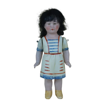 6.5 Inch Molded Clothes All Bisque Hertwig Girl Doll w/  wig