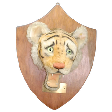 1950s Mint Steiff Tiger Trophy head with Wooden backing
