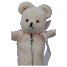 Vintage Pink Baby Bottle Teddy bear with zipper.