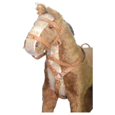 Beautiful 1930s  Mohair Stuffed toy Horse with leather harness and saddle
