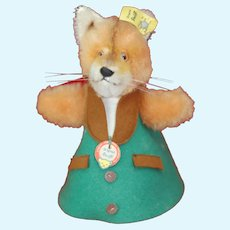 Super nice 1960s Steiff Fox Hide a gift Draylon