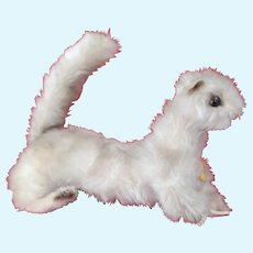 Large 1950 60s White silky mohair Steiff Minky Wiesel All ID