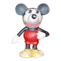 "Lg 5"" Walt E. Disney Enterprise Bisque Mickey Mouse Toothbrush holder Jointed arm"