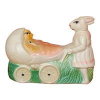 1920's American Viscaloid Celluloid Mother Rabbit Pushing Chickie In Stroller