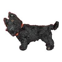1949 Silk Plush Black mohair Standing  Steiff Scotty Dog Blank Button