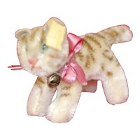 1950s Steiff Tapsy Cat ID original silk bow and bell