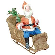 Antique German Clockwork Nodding Santa in Loofah Moss Sleigh Super