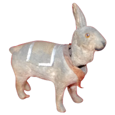 Adorable Miniature Nodding paper mache and wood Easter Rabbit